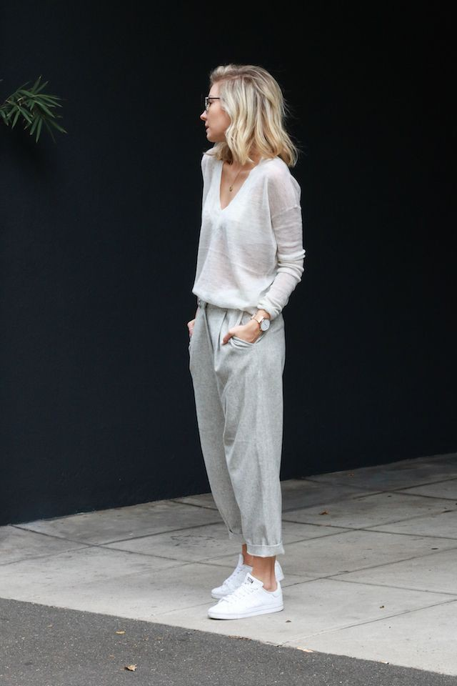 White outfit Pinterest with sportswear, sweatpant, trousers