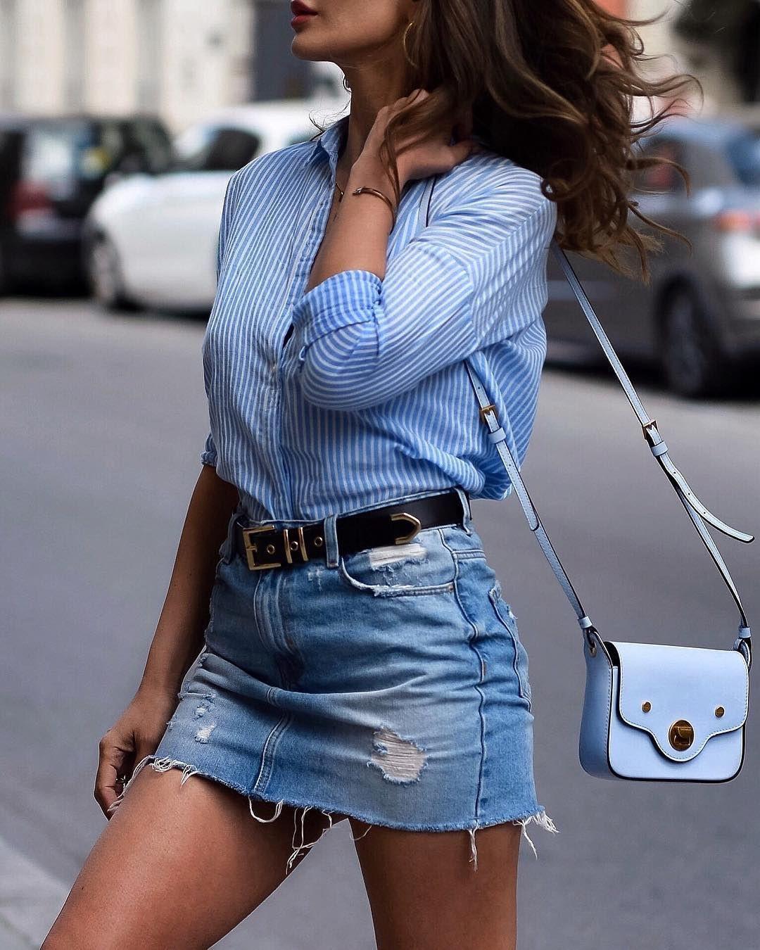 Looks com saia jeans curta