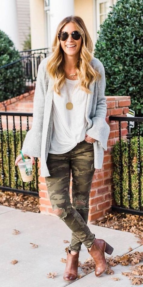 Camouflage pants winter outfits women