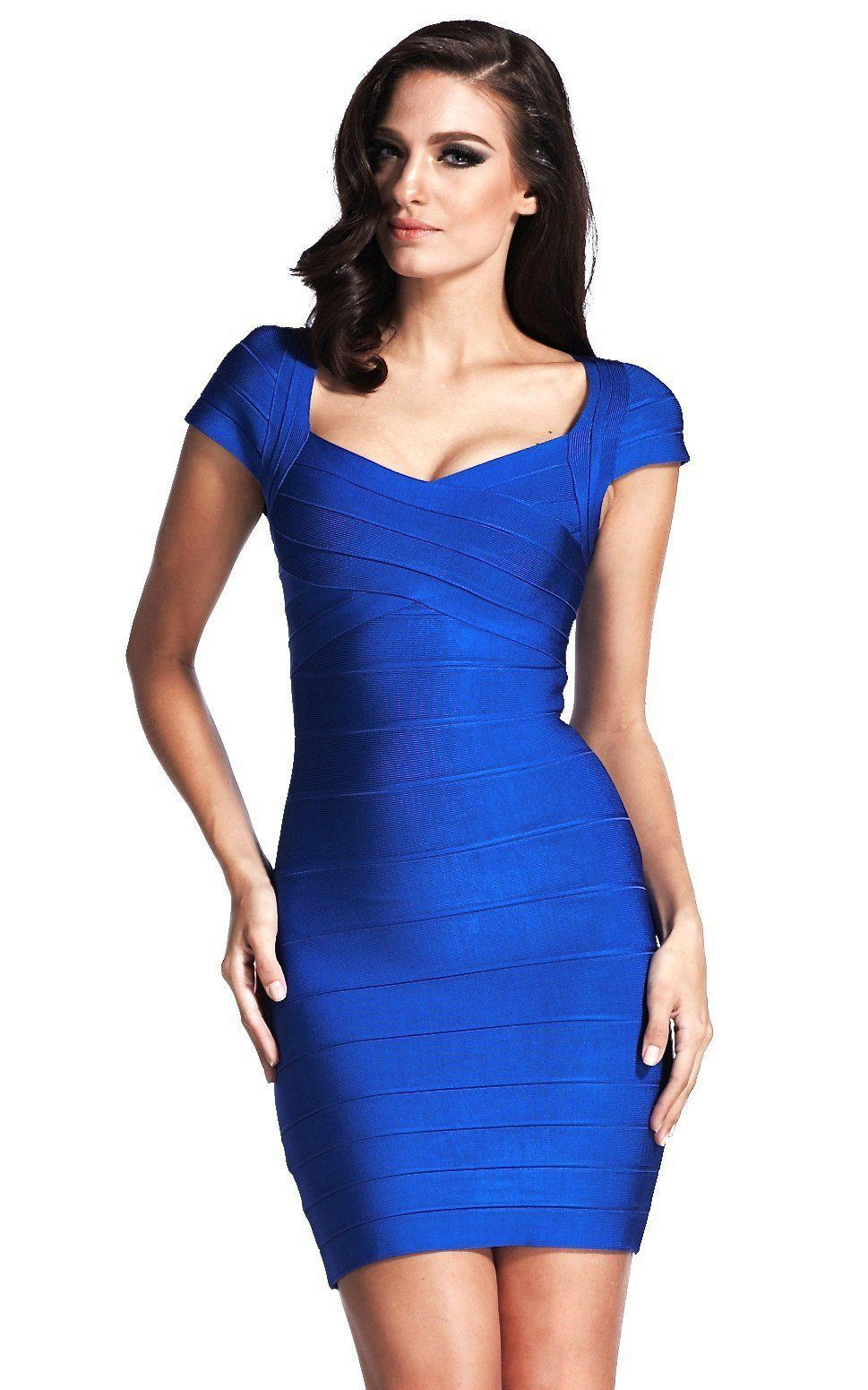 Electric blue and cobalt blue clothing ideas with cocktail dress, bandage dress, day dress