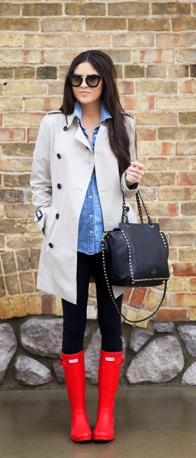 Colour ideas outfit gabardina gris, wellington boot, street fashion, trench coat, t shirt