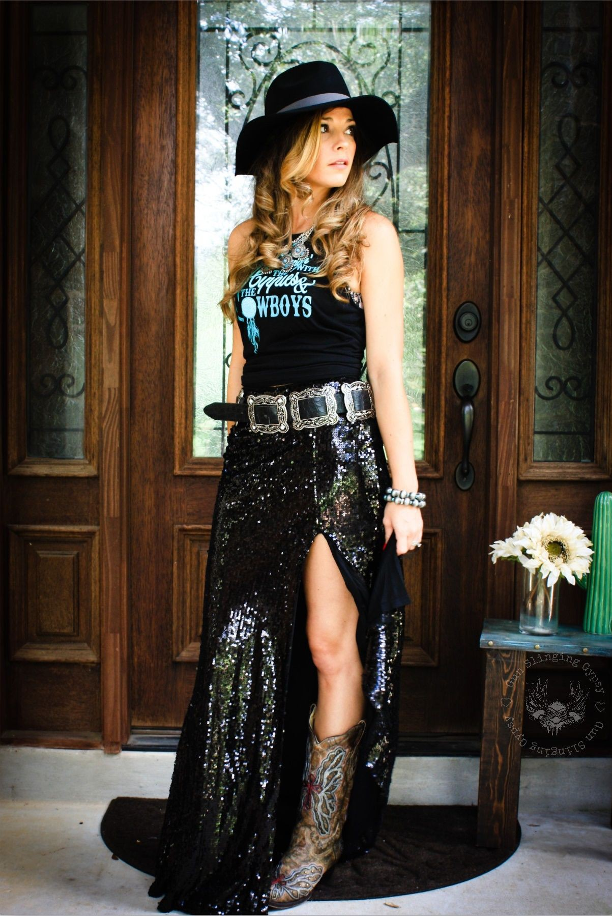 Western black sequins maxi skirt