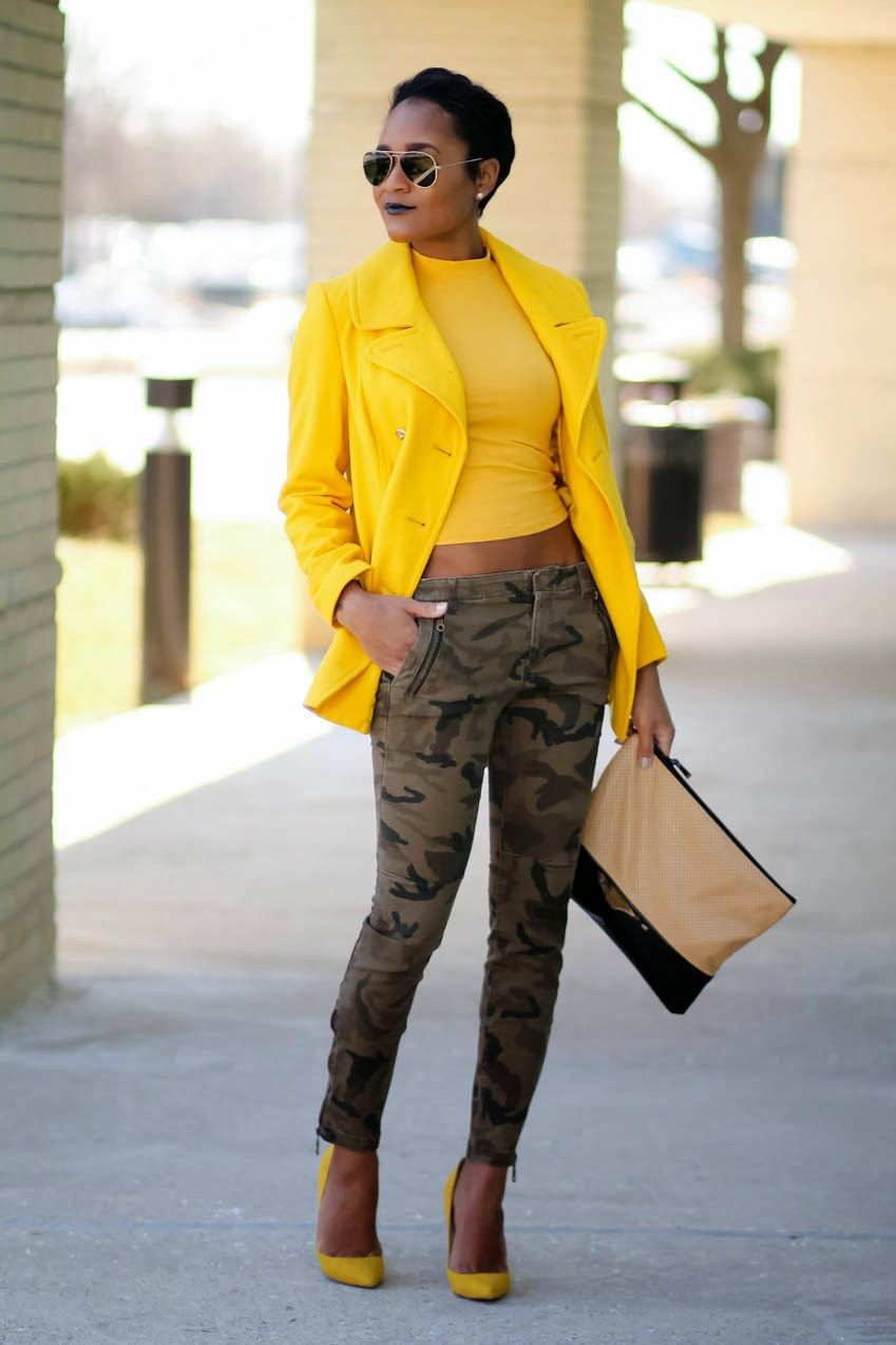Camouflage and mustard outfit, street fashion, fashion model, casual wear, crop top
