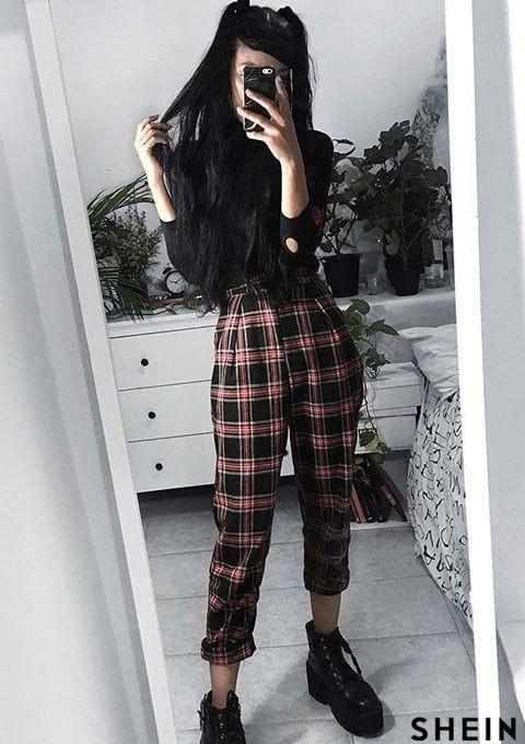 Black style outfit with trousers, leggings, tartan