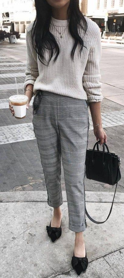 Sweater with plaid pants outfit