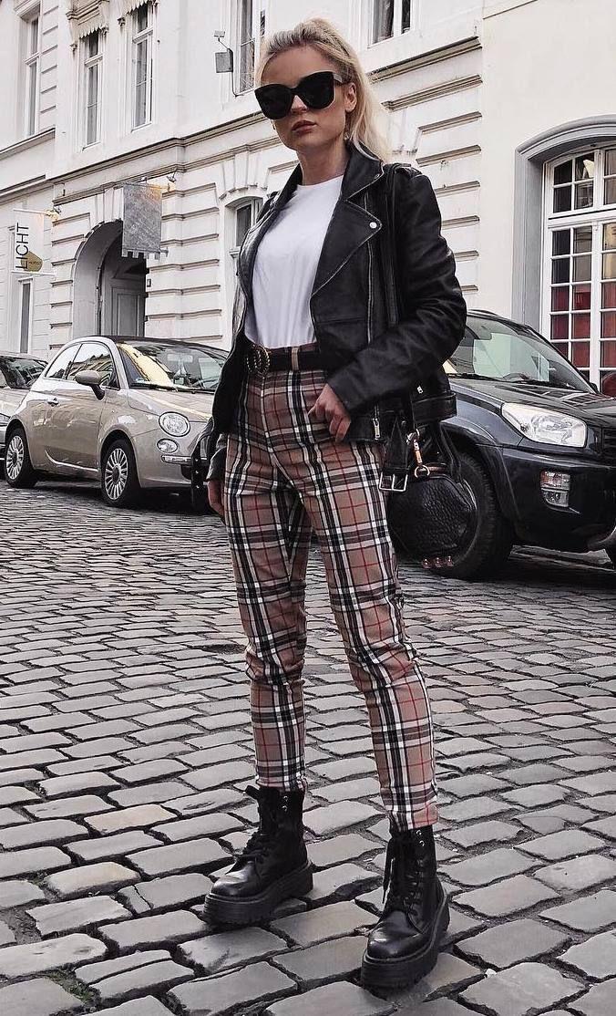 Cute plaid pants outfits, leather jacket, street fashion, casual wear, t shirt