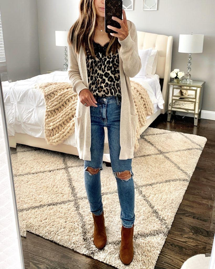 Outfit with leopard mules knee high boot, leopard crossbody