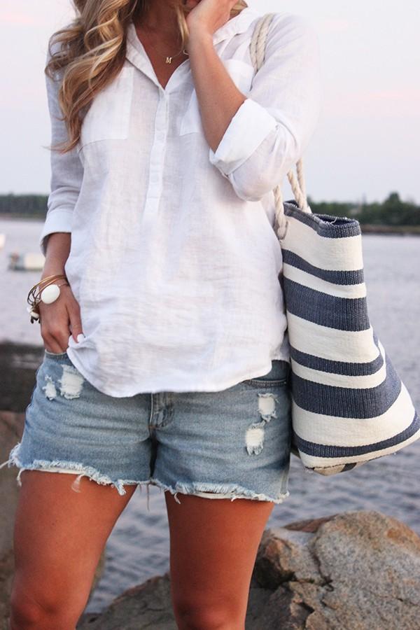 White linen shirt with shorts women
