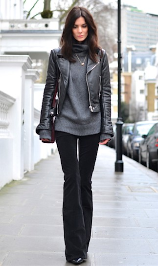 Black flared pants outfit, leather jacket, street fashion, fashion model, bell bottoms, cargo pants