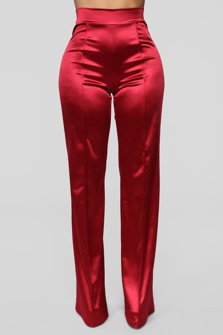 Colour combination red satin trousers, fashion nova, active pants
