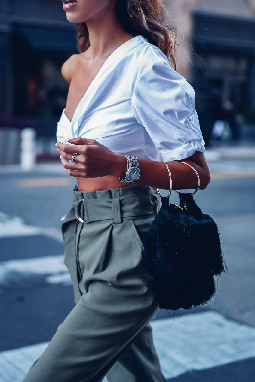 White instagram dress with cargo pants, trousers, crop top