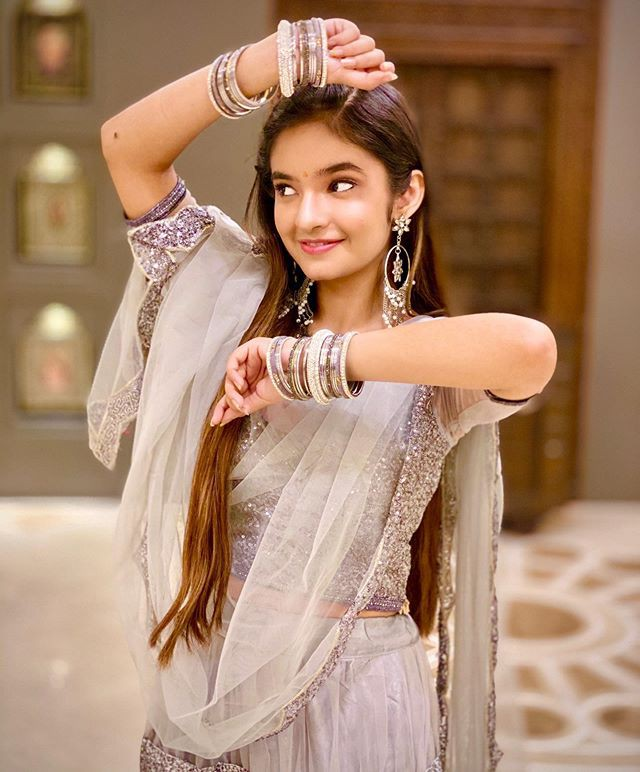 Anushka Sen Cute Pic In Saree   Anushka Sen In Saree   , ,