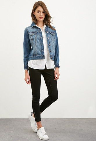 Denim jacket and button down shirt outfit