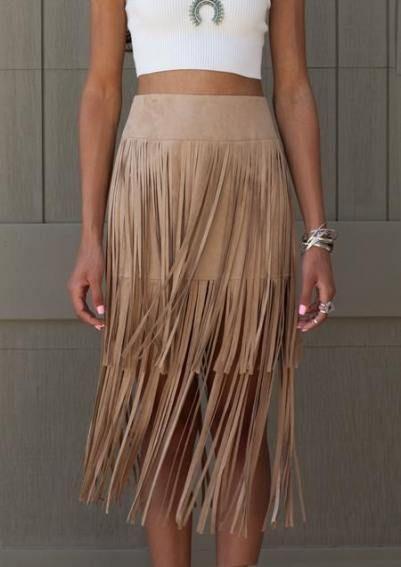 Camel suede fringe skirt suede fringe skirt, cocktail dress