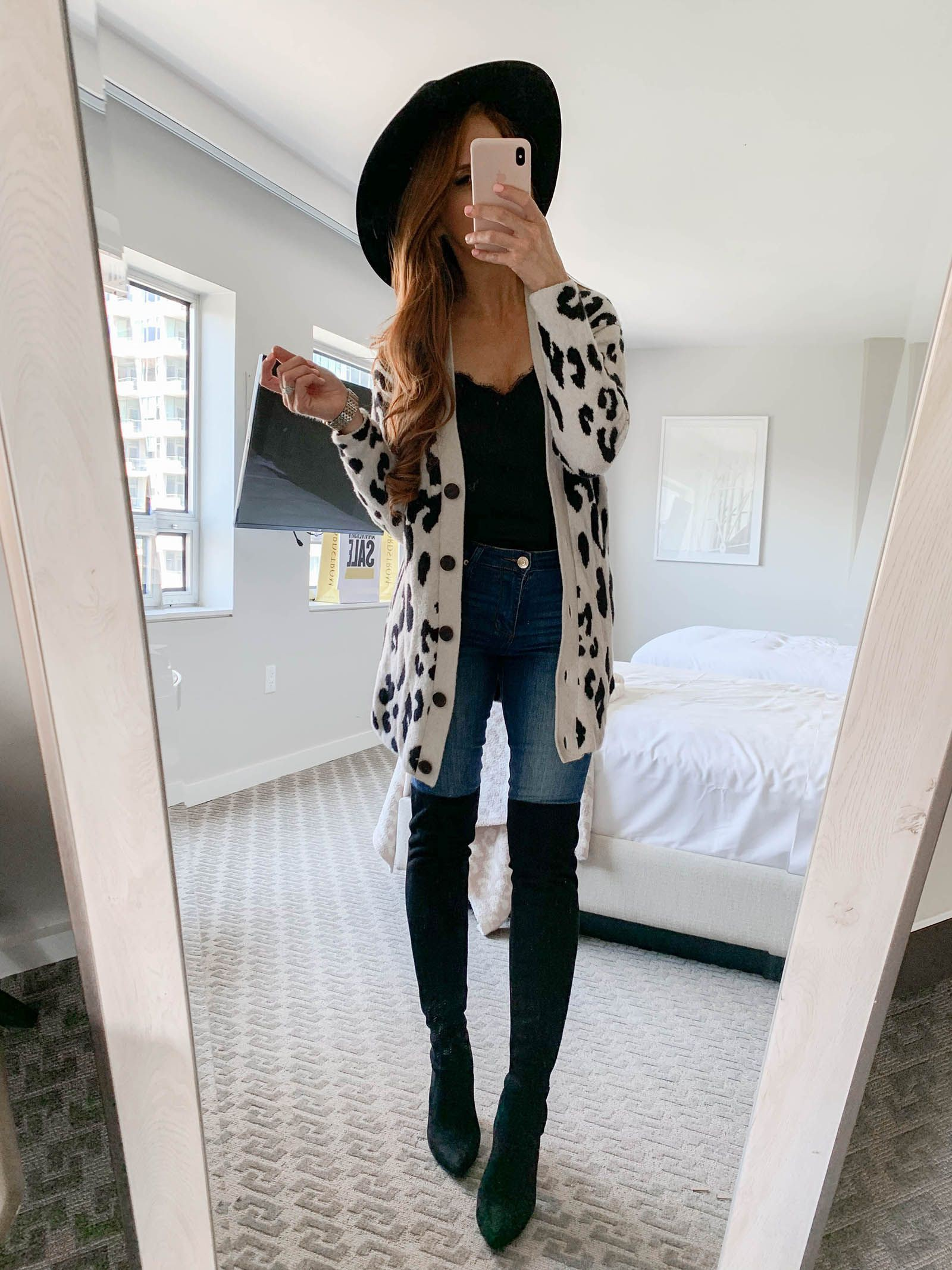 Classy outfit with trousers, leggings, blazer
