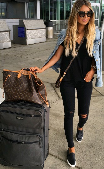 Airport outfit summer ideas, fashion accessory, street fashion, hand luggage, las vegas