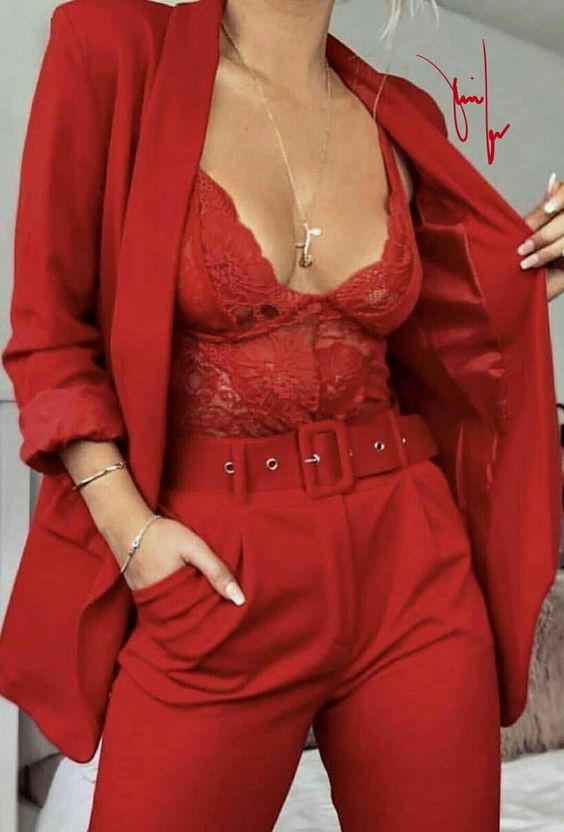 Sexy red power suit, backless dress