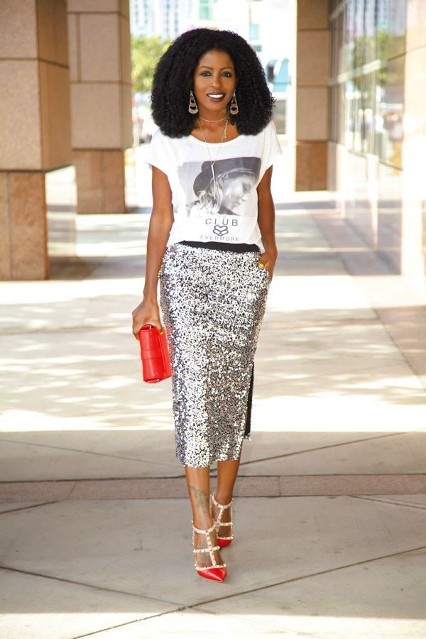 Wear with silver sequin skirt