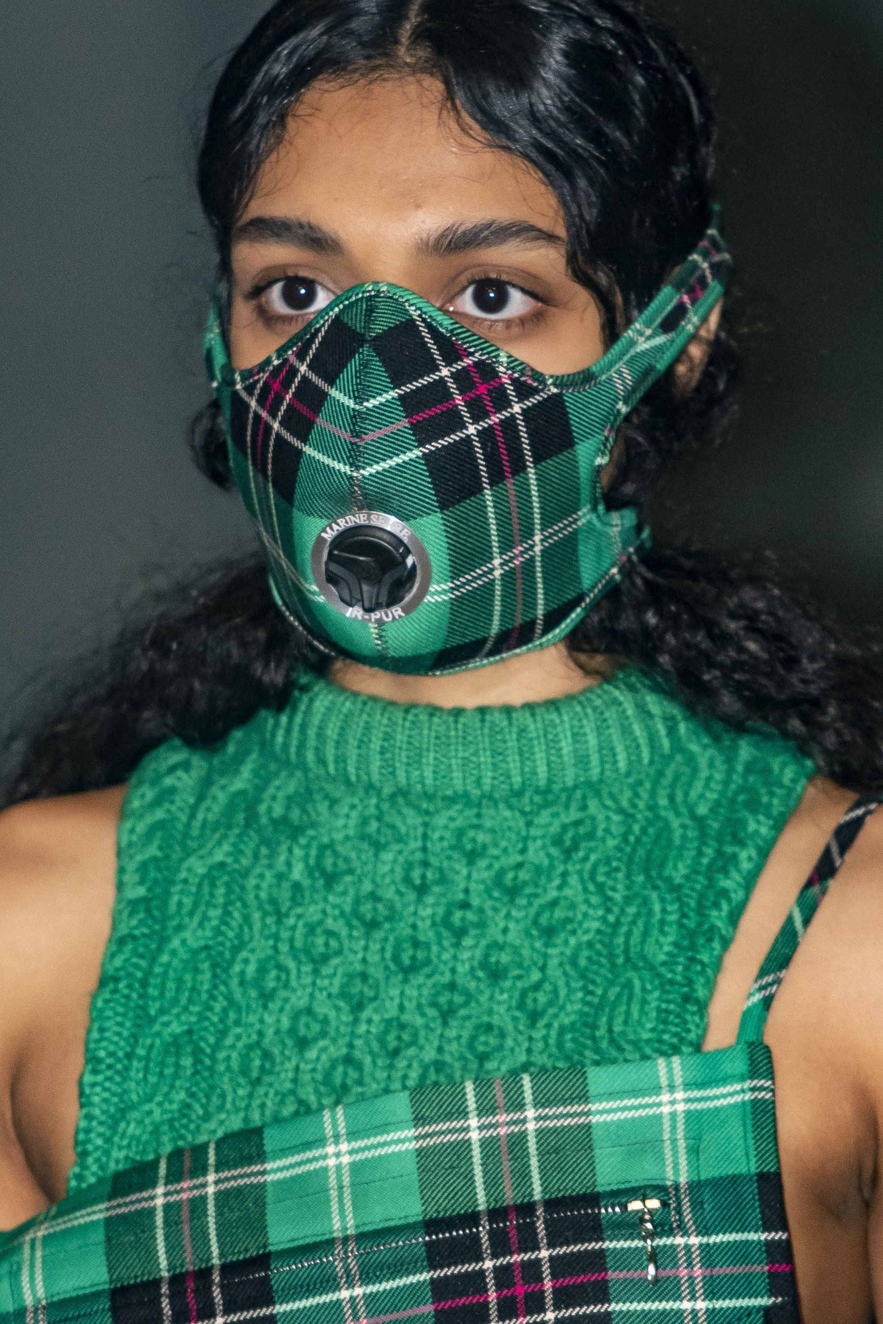 Green fashion collection with tartan