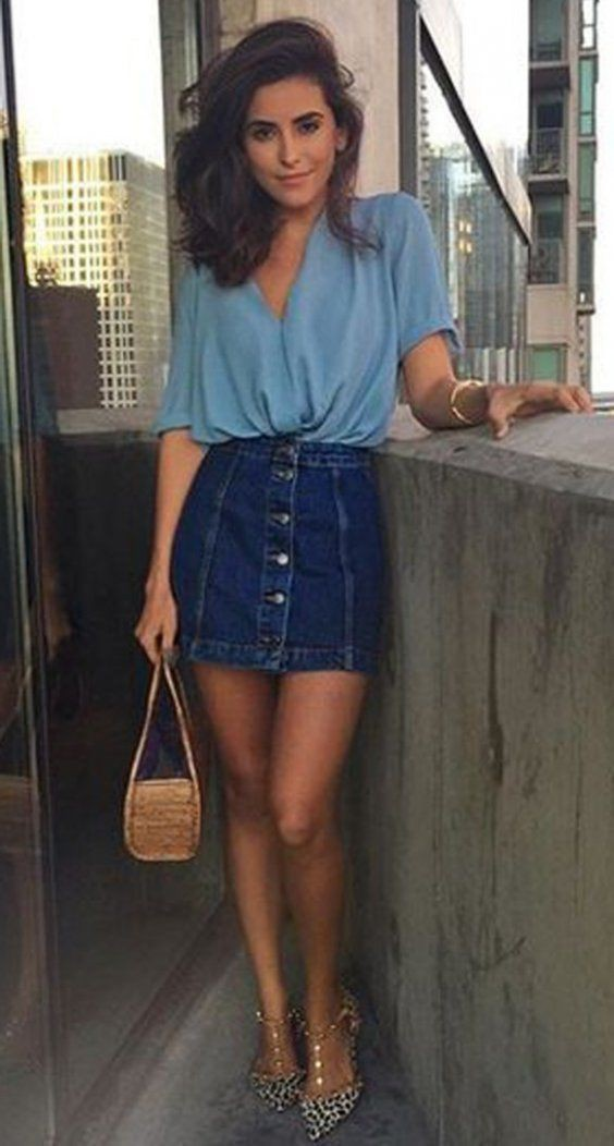 Denim skirt outfit ideas, jean jacket, casual wear, denim skirt