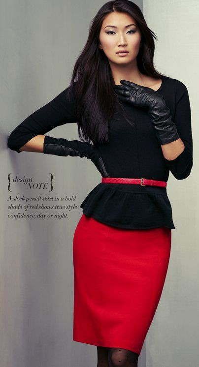 Red pencil skirt with peplum black top