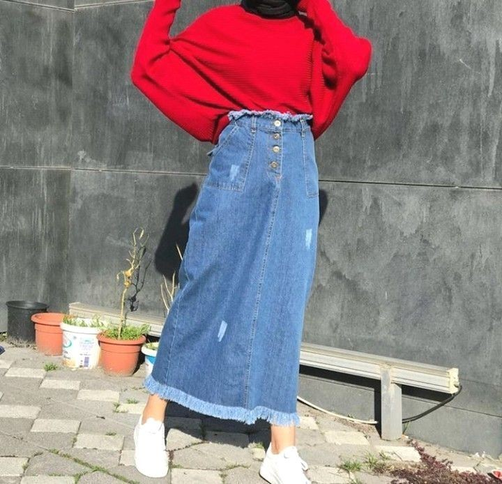 Outfit style with denim skirt, trousers, skirt
