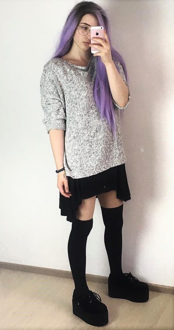 Purple attire with tights