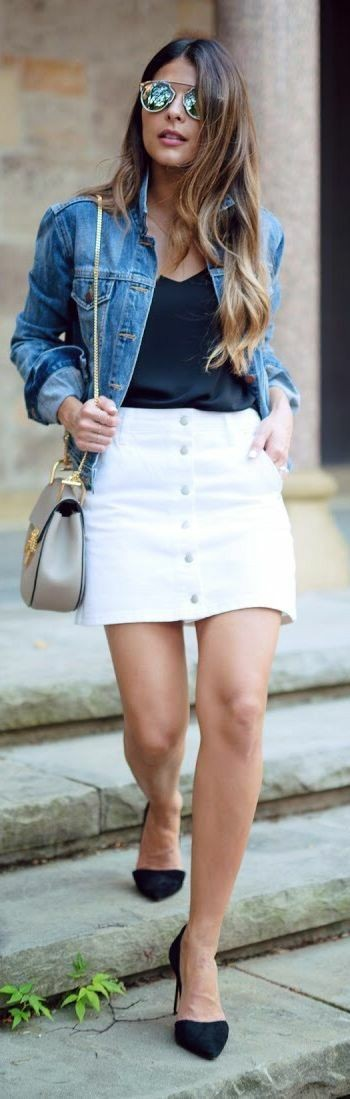 Denim white skirt outfit, street fashion, jean jacket, denim skirt, t shirt