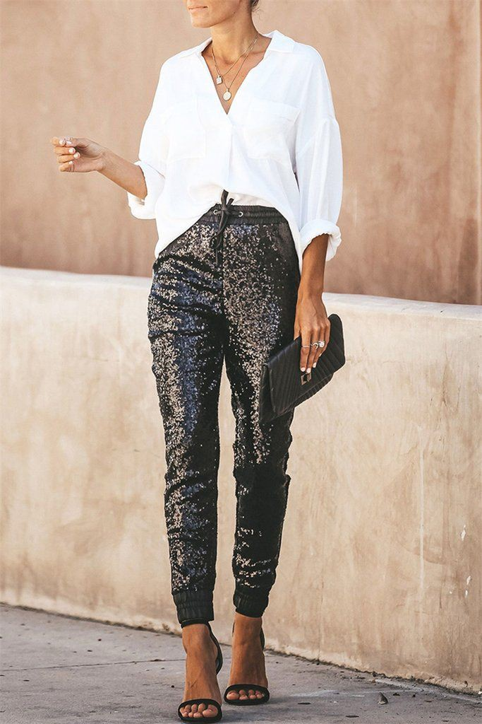 Cute outfit ideas wear sequin joggers slim fit pants, bell bottoms