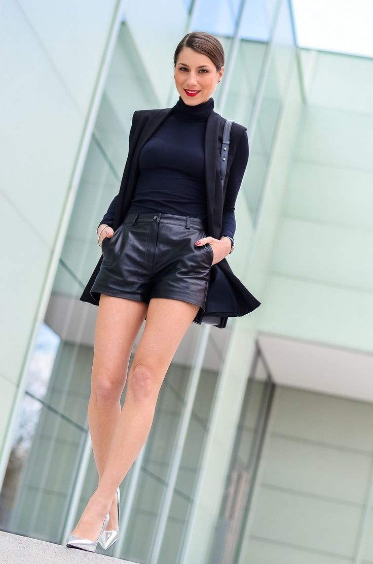 Black colour outfit, you must try with leather, shorts, blazer