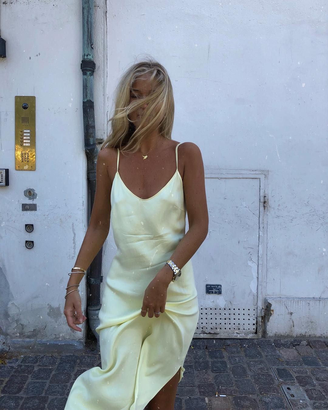 Pastel yellow silk dress, sheer fabric, slip dress, long hair