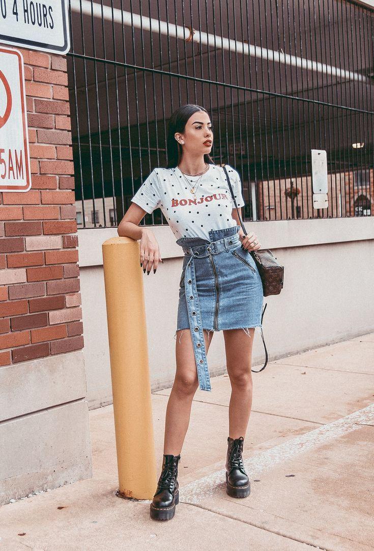 Denim skirt outfit ideas, street fashion, casual wear, denim skirt, t shirt