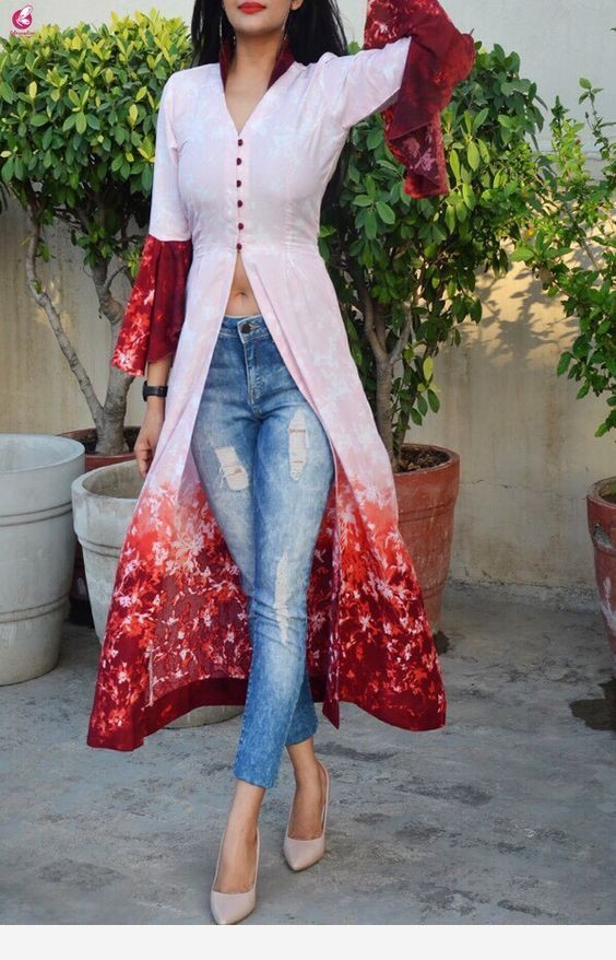 Slit kurti with jeans, kurti top