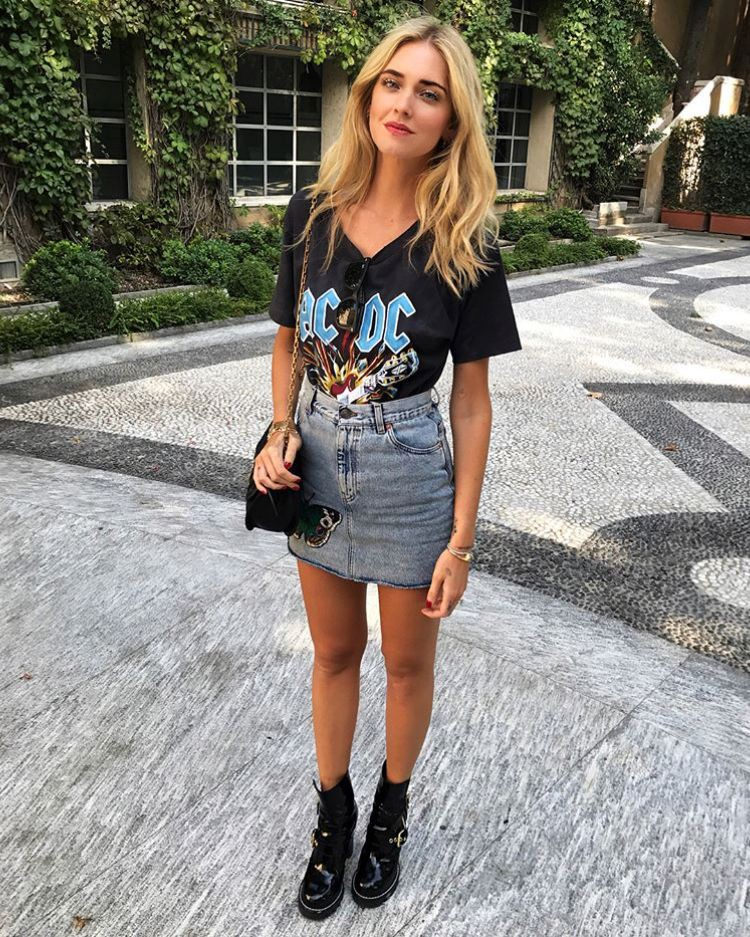 Look rock com saia jeans