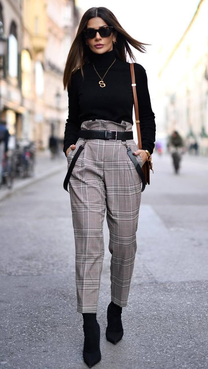 Plaid pants and boots outfit