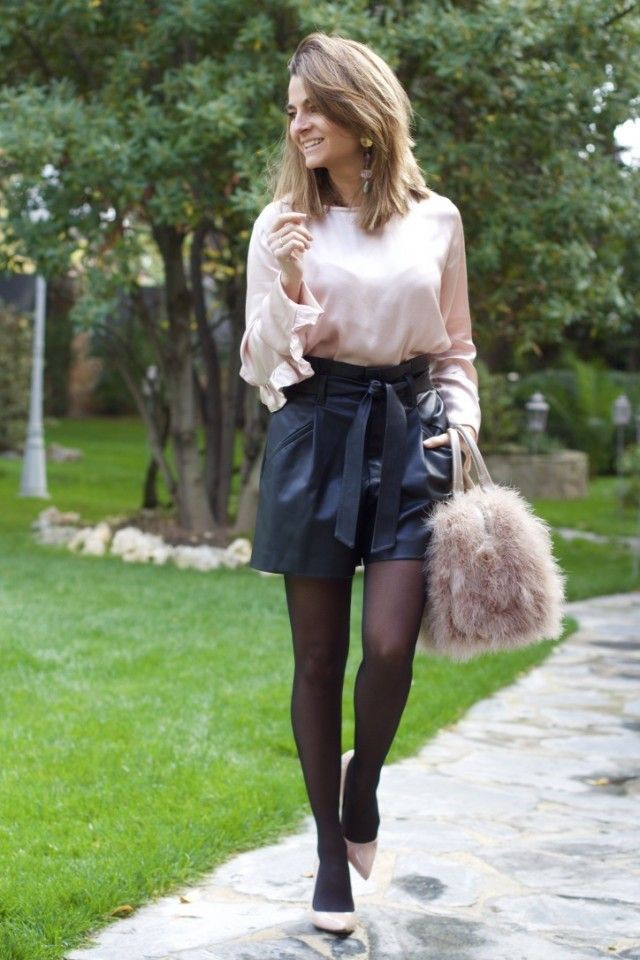 Brown and black colour outfit ideas 2020 with miniskirt, shorts, tights