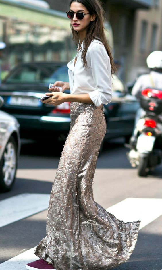 Sequin skirt and shirt sequin maxi skirt, street fashion