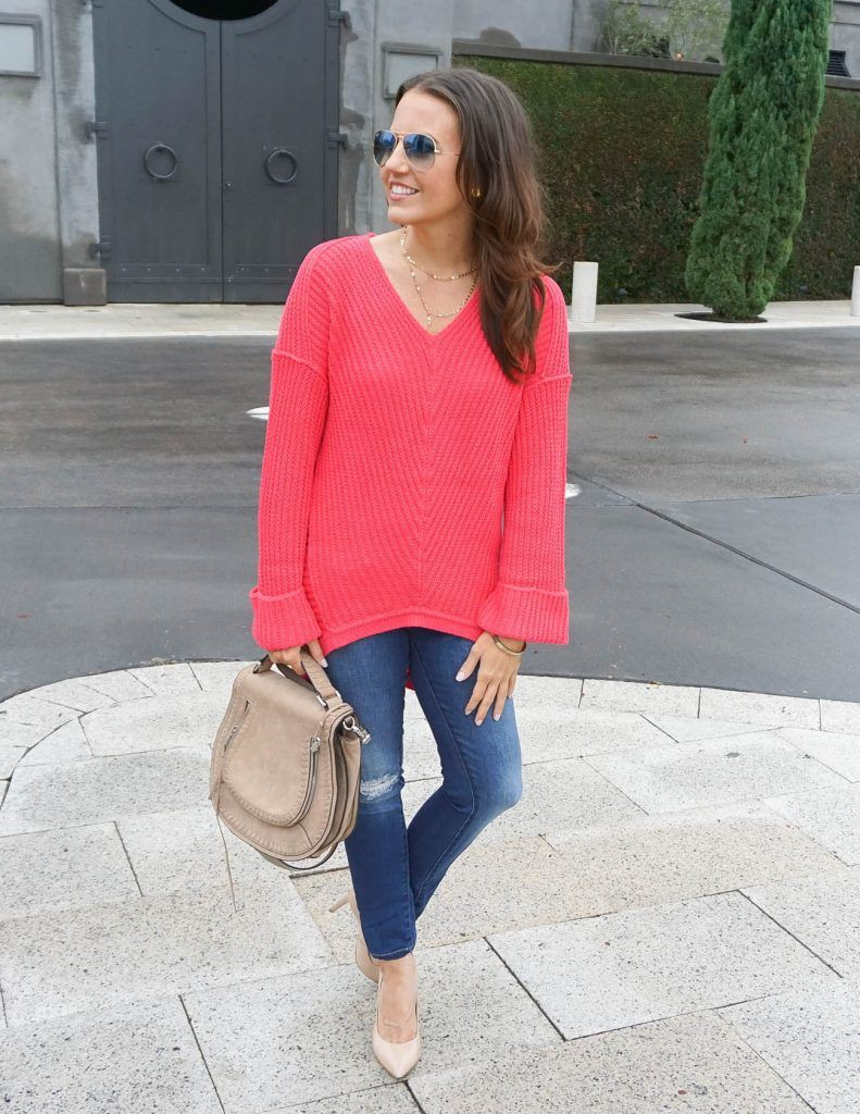 Outfit coral sweater outfit, street fashion, electric blue, fashion blog, casual wear