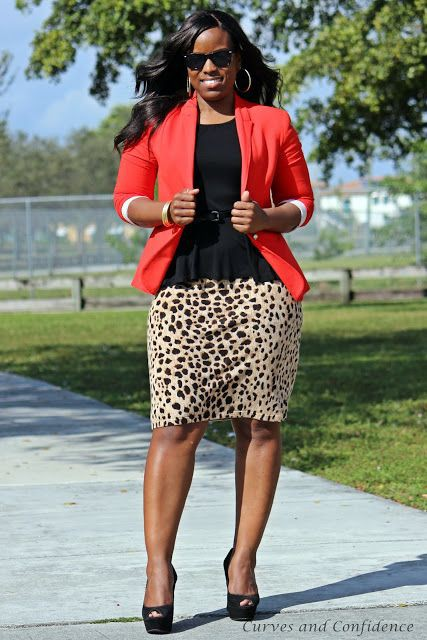 Orange and white colour outfit with animal print, pencil skirt, blazer