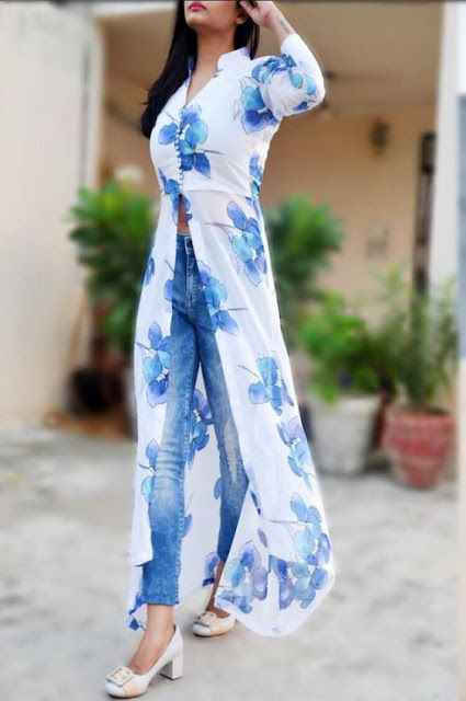 Side cut simple long kurti with jeans