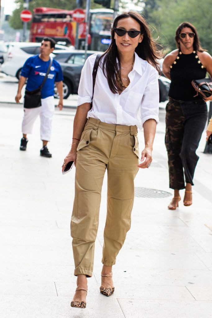 Khaki cargo pants outfit, street fashion, fashion model, trench coat, capri pants, casual wear,  ...