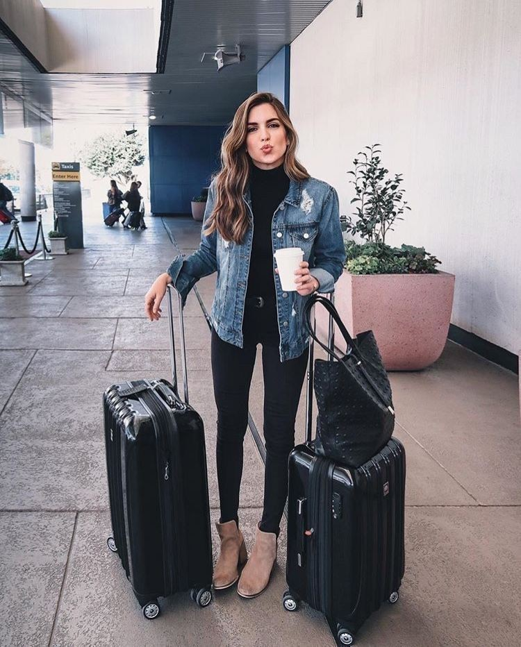 Colour ideas black travel outfit, street fashion, hand luggage, jean jacket, casual wear, t shirt