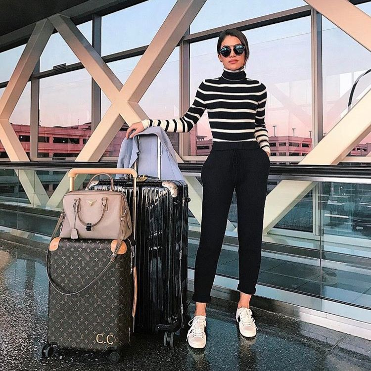 Airport travel outfit ideas, street fashion, hand luggage
