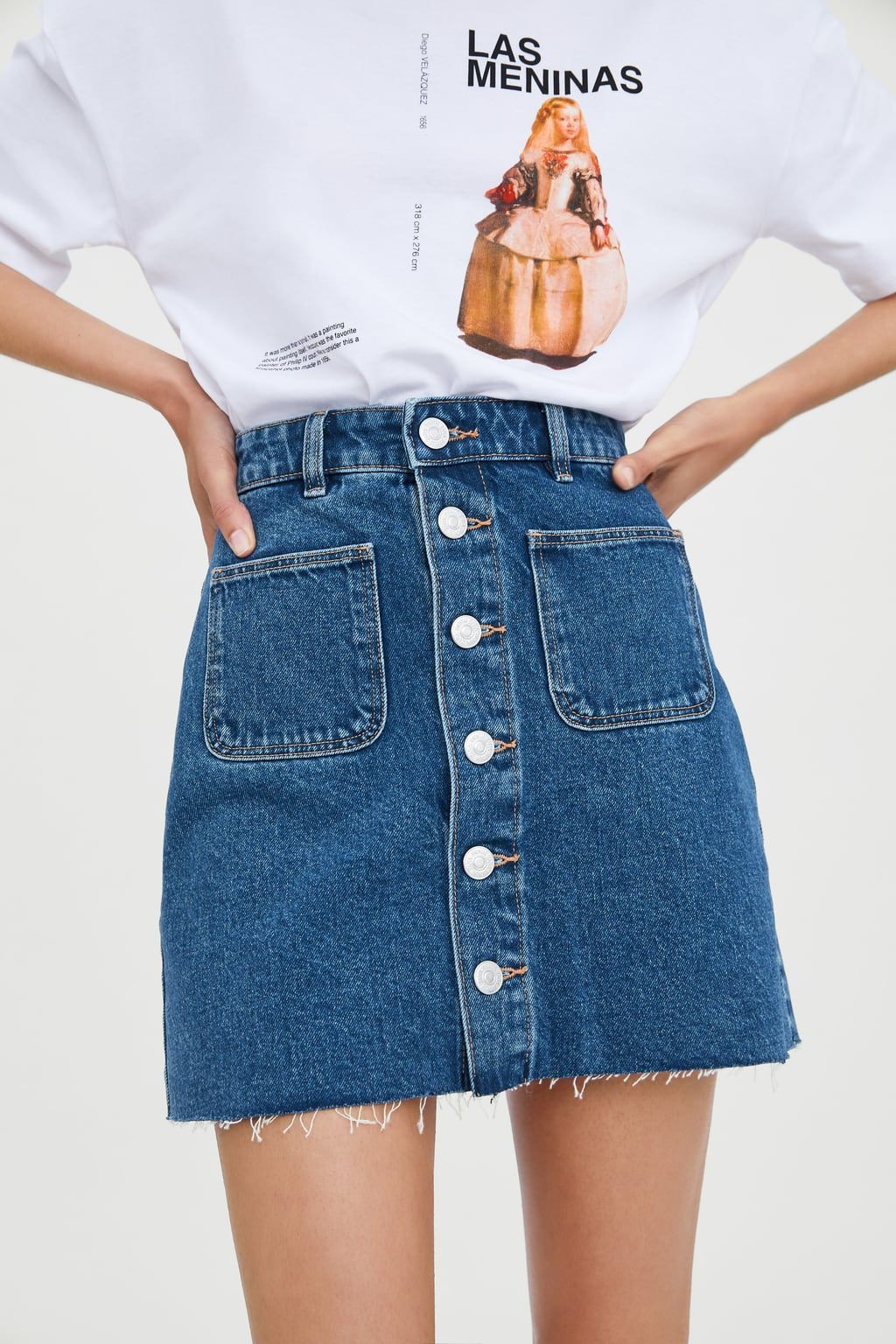 White and blue style outfit with denim skirt, jean short, miniskirt