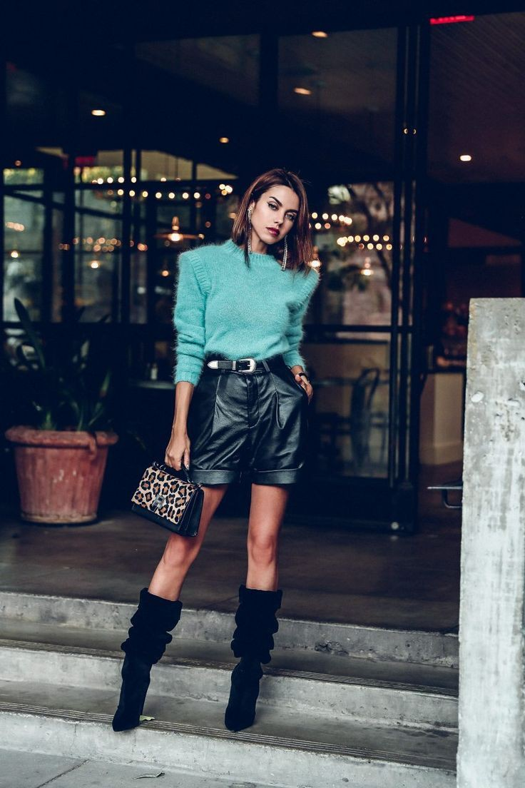 Leather shorts and boots, street fashion