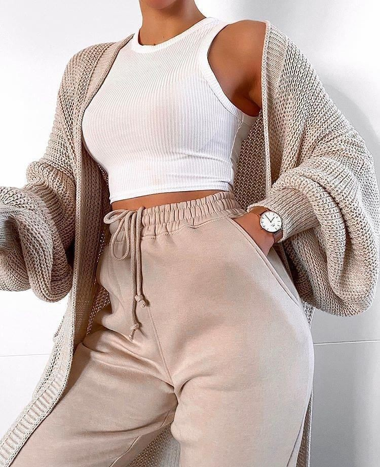 Beige and white colour outfit ideas 2020 with crop top, sweater, hoodie