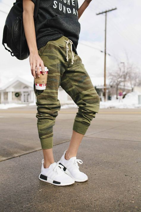 Camo joggers with sneakers, street fashion, camo joggers, casual wear, cargo pants