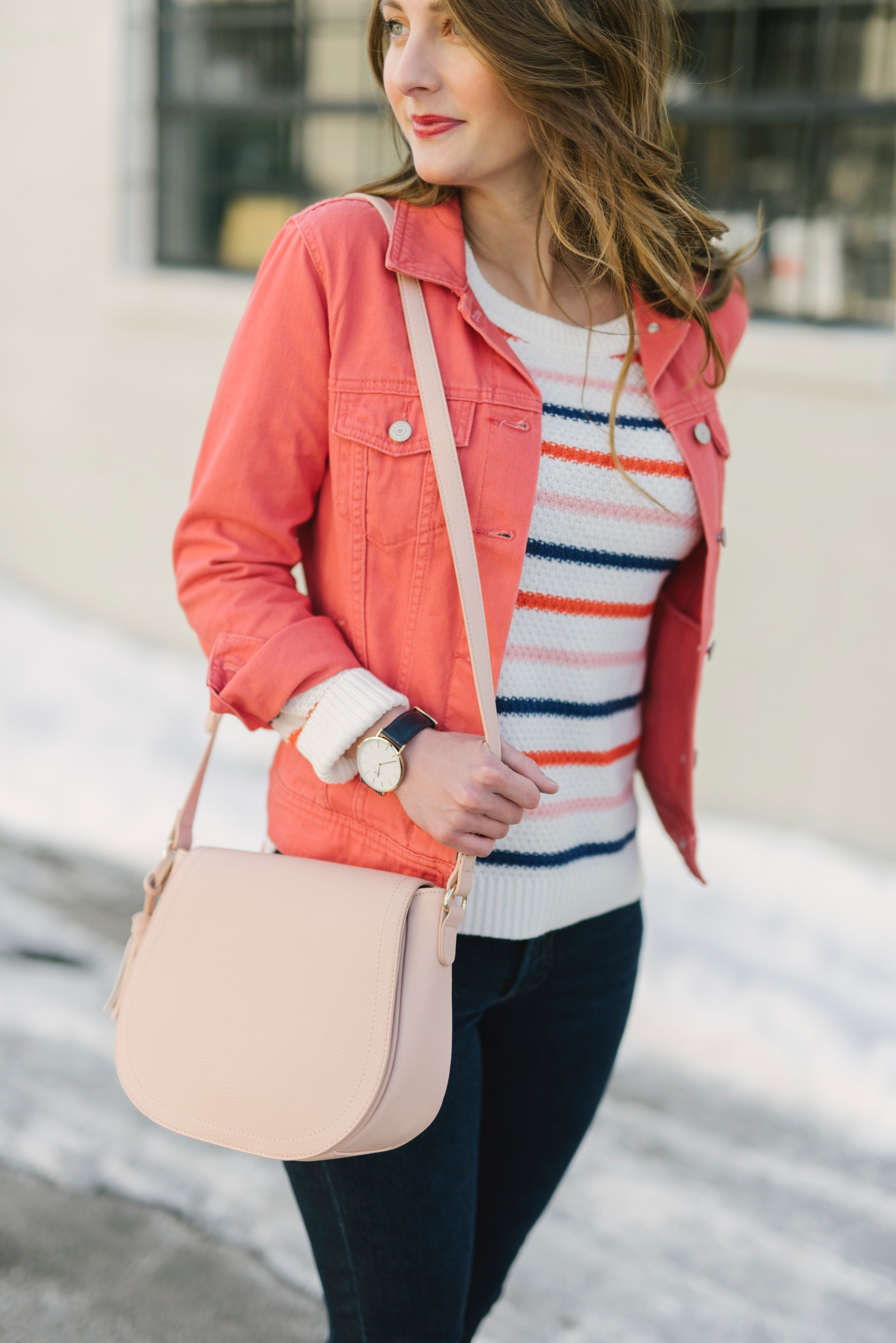 Orange and white dresses ideas with jacket, blazer, jeans