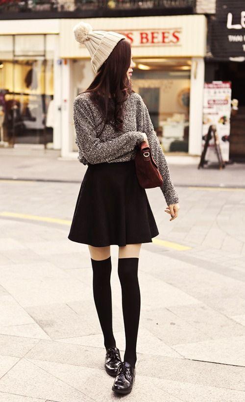 Colour dress cute fashion outfits classic black skirt, street fashion