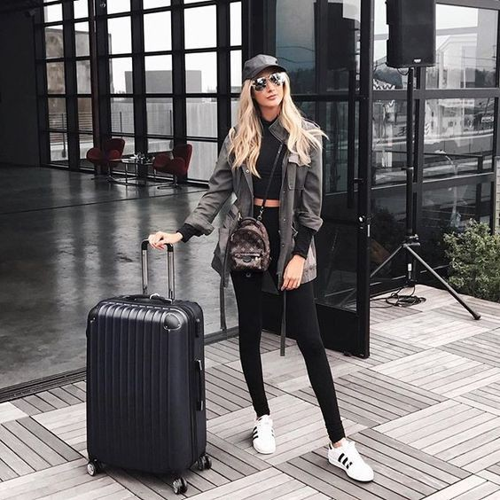 Colour ideas classy airport outfits, olivia palermo, street fashion, hand luggage